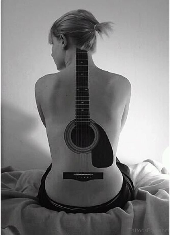 Guitar Tattoo On Back Image
