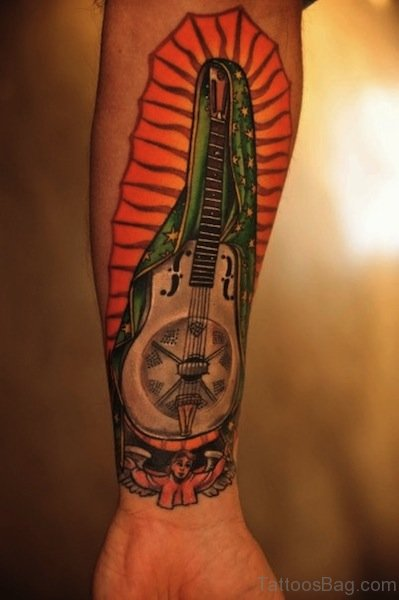 Guitar Tattoo On Wrist