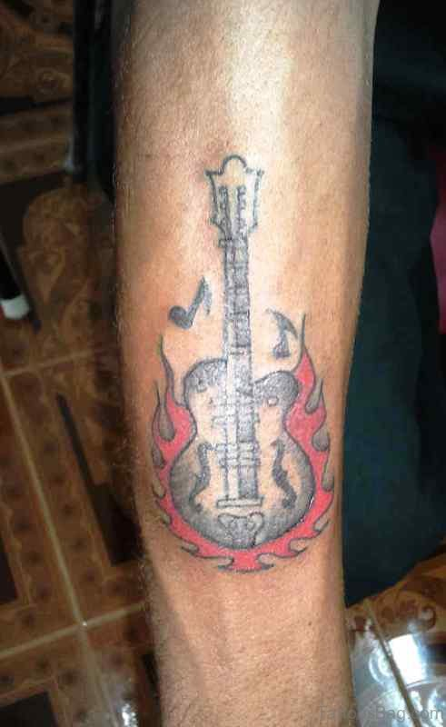Guitar With Red Flames On Forearm