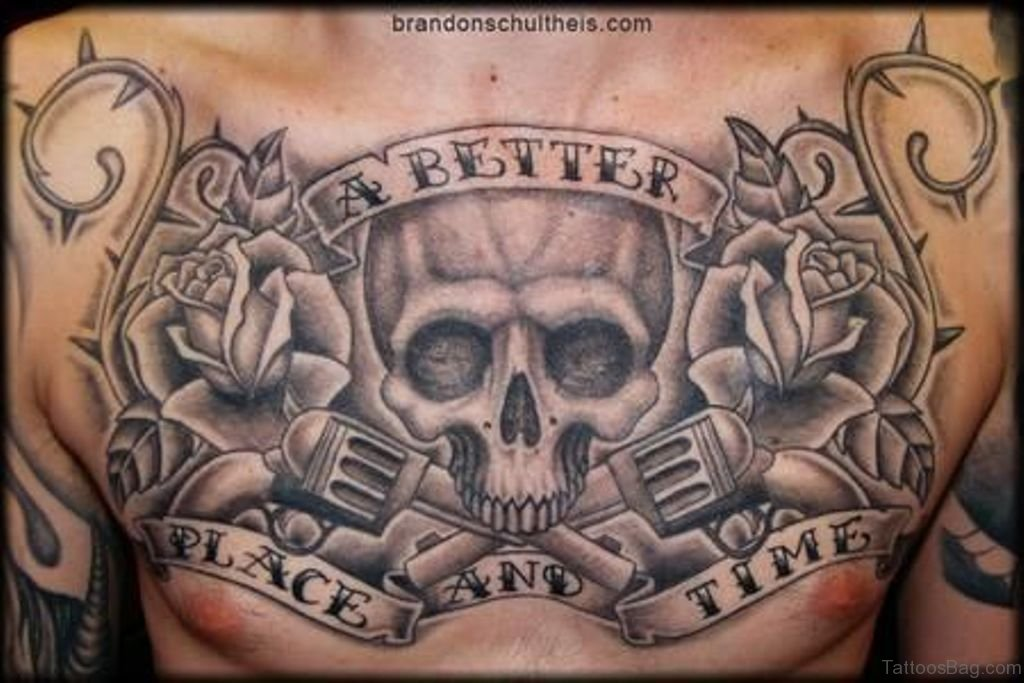 Skulls And Guns Tattoos: 99 Top Class Skull Tattoos On Chest