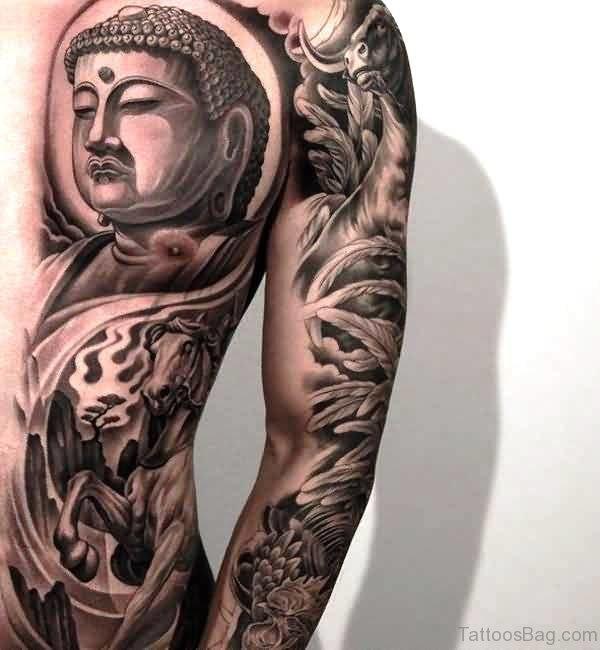 Half Chest Buddha Tattoo Design