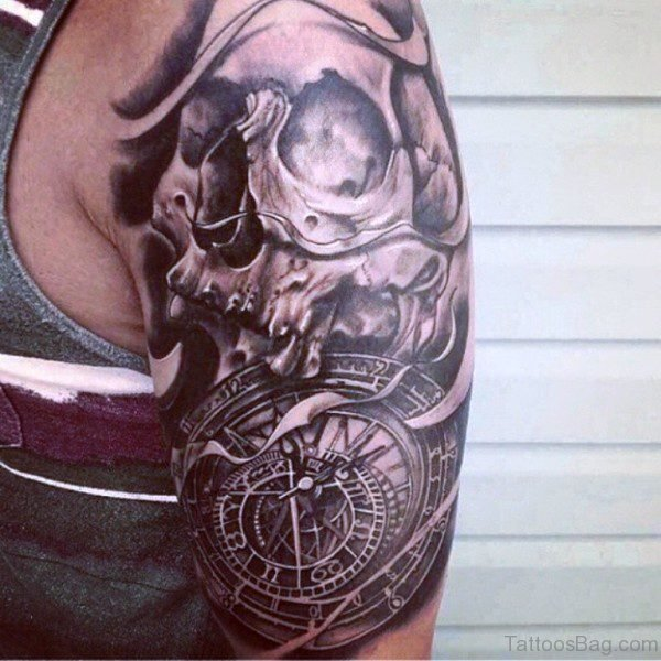 65 perfect clock tattoos on shoulder