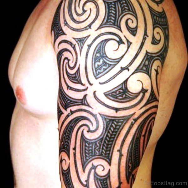 Half Sleeves Maori Tattoo Design