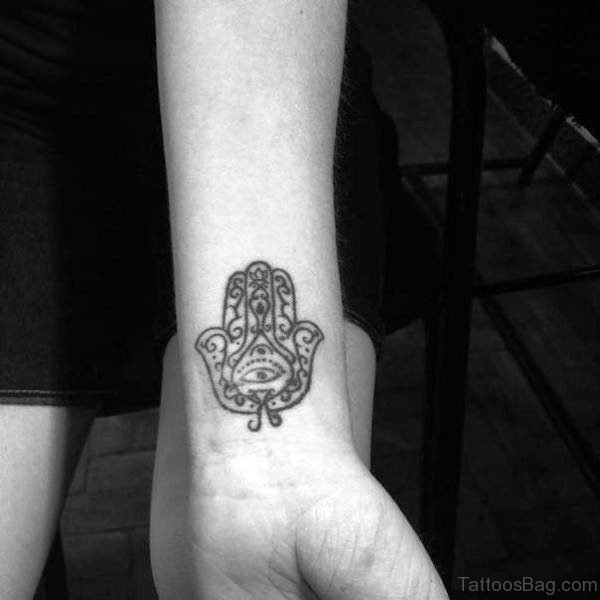 Hamsa Hand Tattoo On Wrist