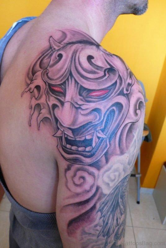 Hannya Mask Tattoo On Shoulder