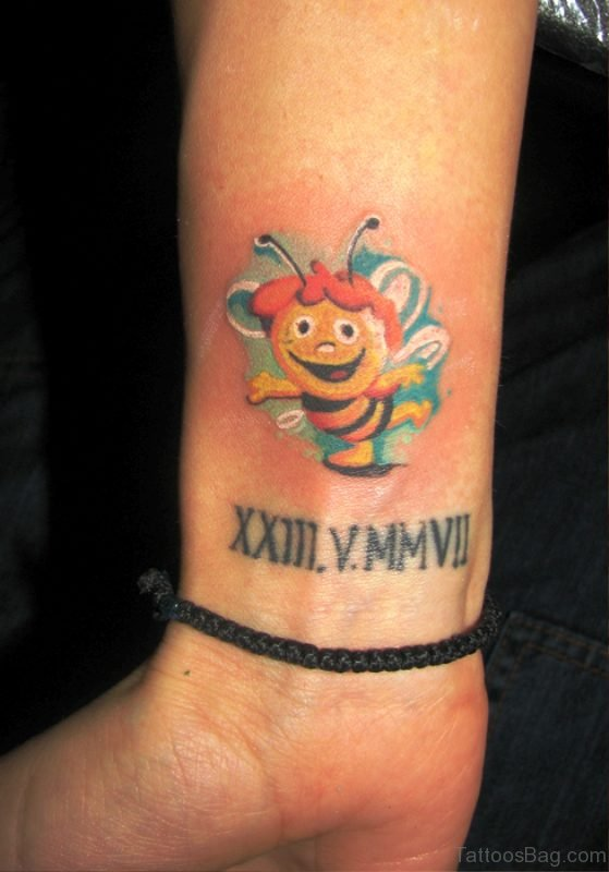 Happy Bee Tattoo On Wrist