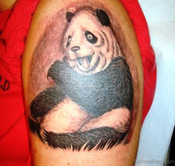 Happy Panda Shoulder Tattoo