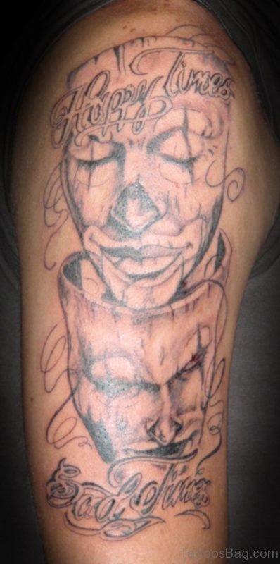 Happy Sad Clown Tattoo