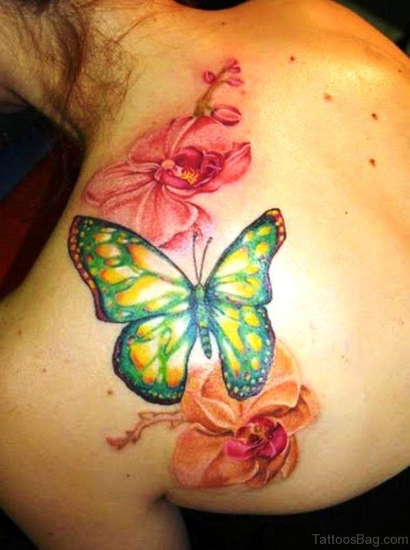 Hawaiian Flower Tattoo On Upperback