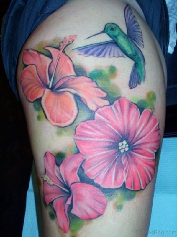 Hawaiian Flowers Thigh Tattoo