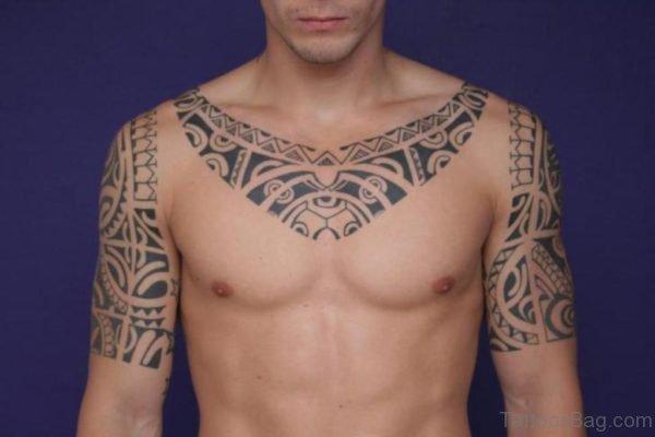 Hawaiian Necklace Tattoo On Shoulder