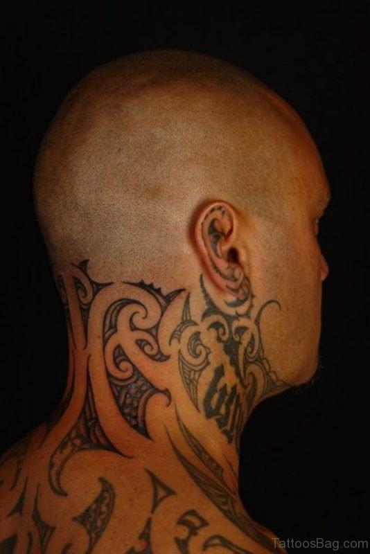 Hawaiian Tattoo Design On Neck