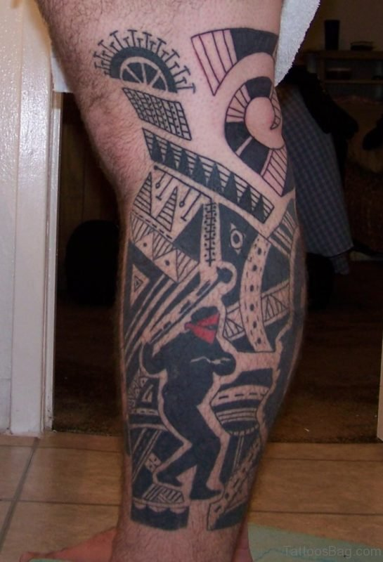 Hawaiian Tribal Leg Tattoo Design