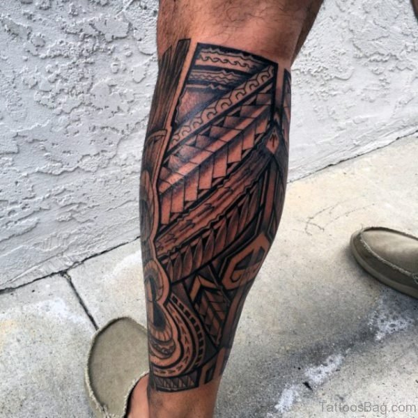 Hawaiian Tribal Tattoo On Leg