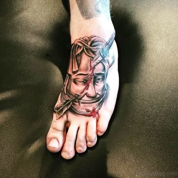 Head Stabbed Arrow Shot Tattoo Design