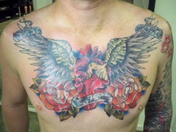 Heart And Rose Wing Chest Tattoo