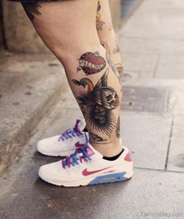 Heart And Skull Leg Tattoo