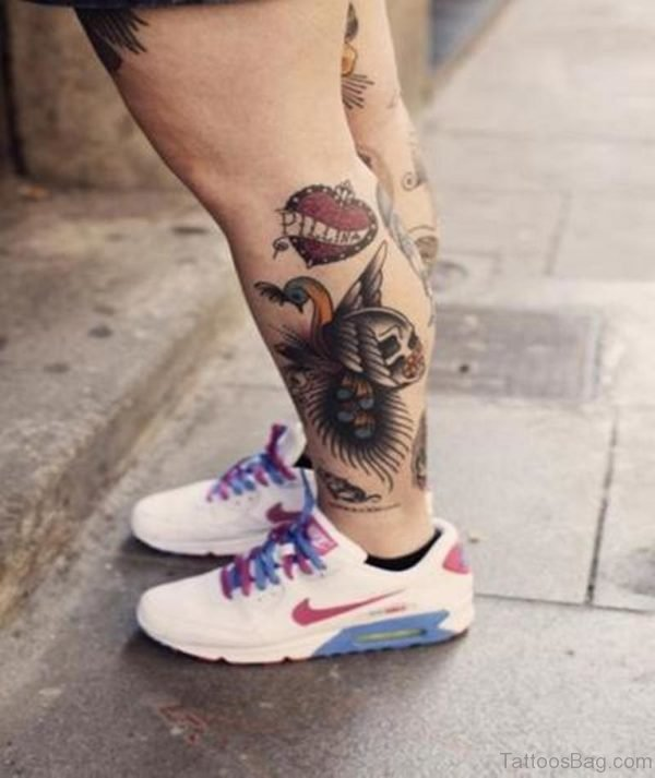 Heart And Skull Leg Tattoo Design