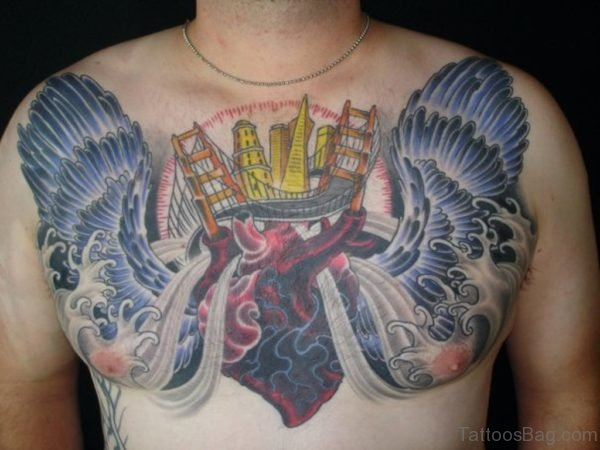 Heart And Wings Tattoo Design On Chest