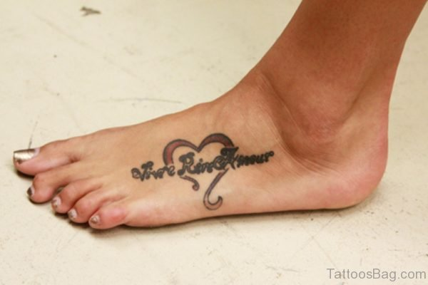 Heart And Word Tattoo On Foot
