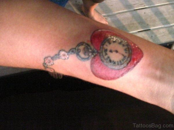Heart Clock Tattoo On Wrist
