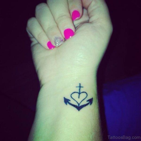 Heart Cross Tattoo On Wrist
