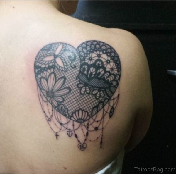 Heart Lace Tattoo On Shoulder Back