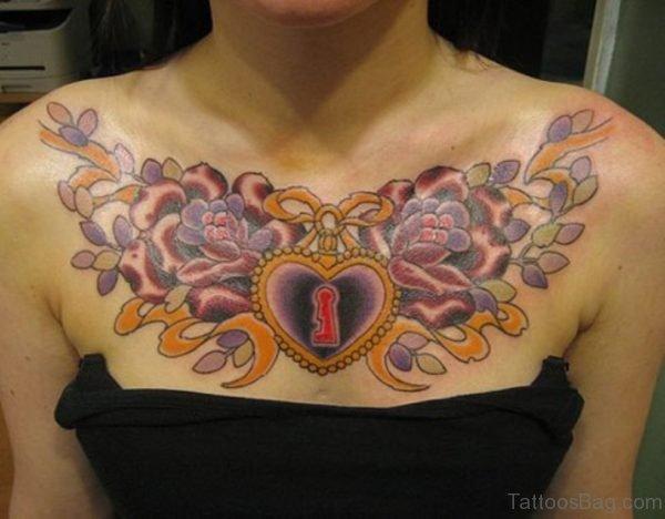 Heart Lock Tattoo On Chest