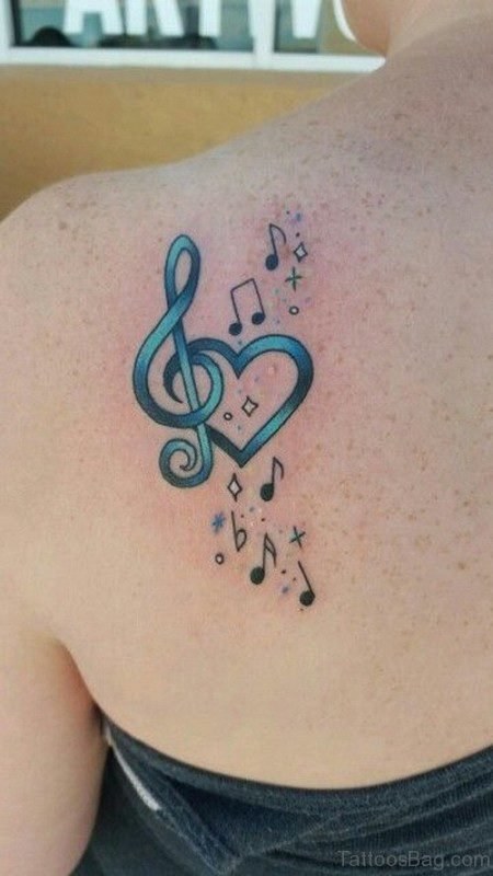 Heart Note Tattoo Design