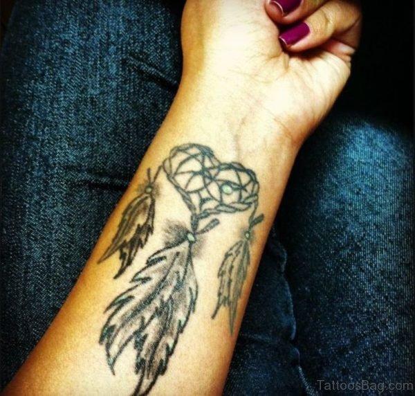 Heart Shape Dreamcatcher Tattoo