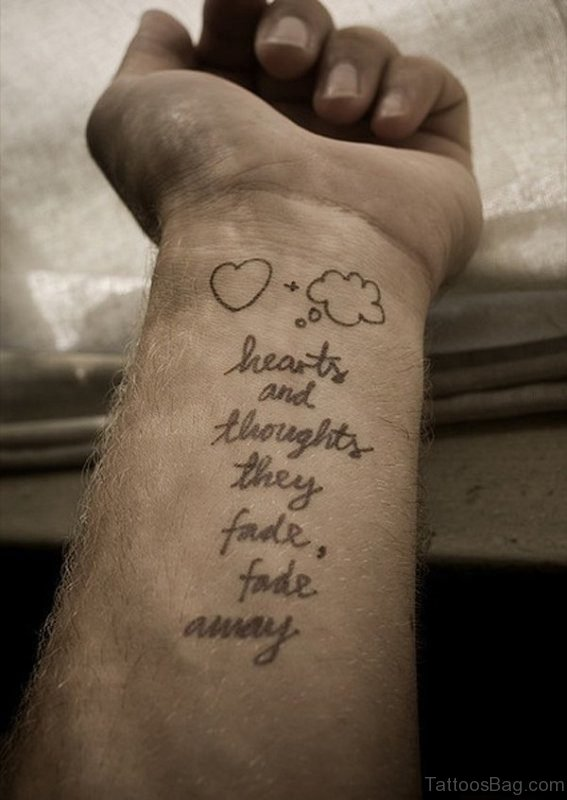 Hearts And Thoughts Quote Tattoo On Wrist