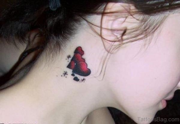 Hearts Neck Tattoo Behind Ear