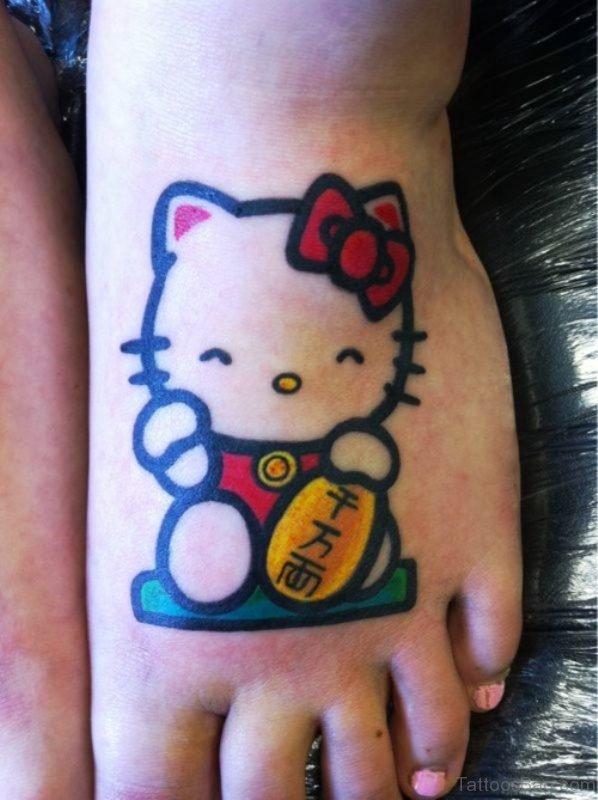 Hello Kitty Cat Tattoo On Foot meow837