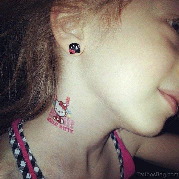 Hello Kitty Neck Tattoo
