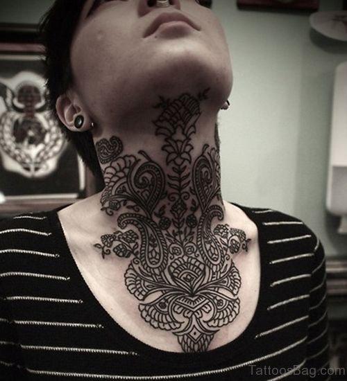 Henna Cover Neck Tattoo Design