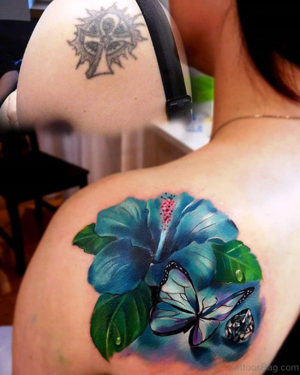 Hibiscus And Butterfly Tattoo