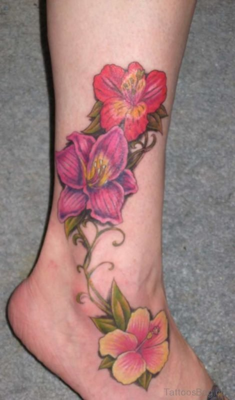 Hibiscus Flowers Tattoo On Ankle Leg