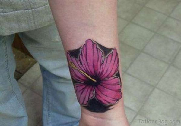 Hibiscus Wrist Tattoo
