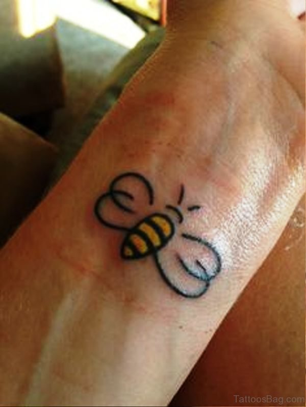 Honey Bee Tattoo On Wrist