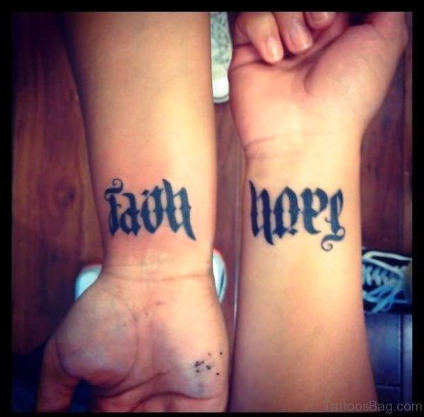 Hope Faith Tattoo On Wrist
