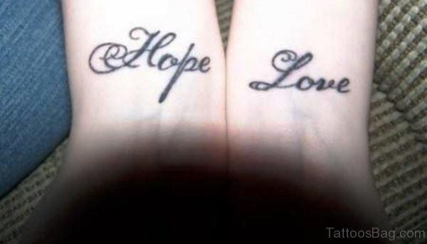 Hope Love Tattoo On Wrist