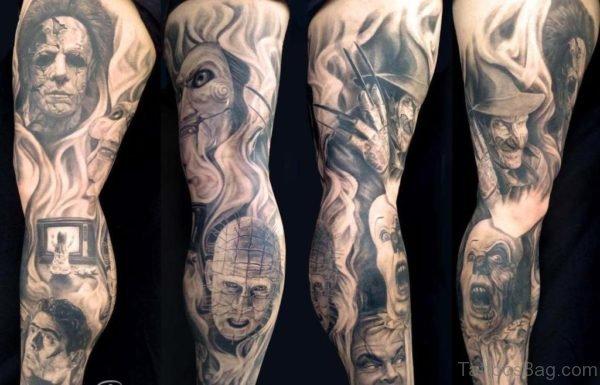 Horror Portrait Tattoo On Leg