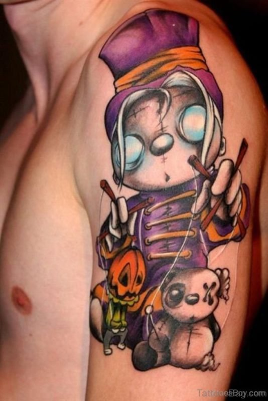 Horrible Zombie Cartoon Tattoo Made On Men Shoulder