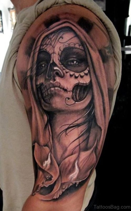 Horrible Zombie Girl Tattoo On Shoulder