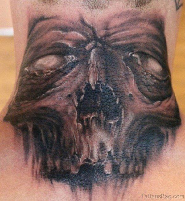 Horror Black And Grey Skull Tattoo
