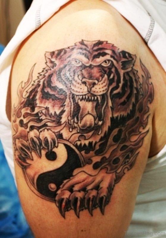 Horror Black Tiger Tattoo