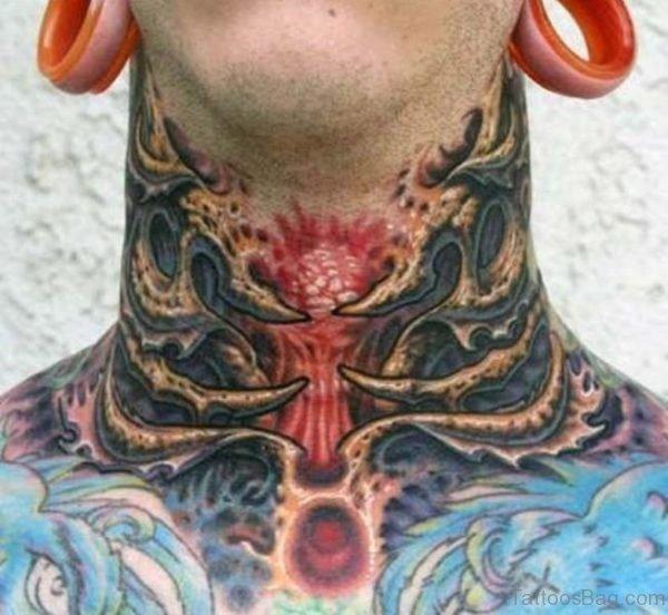 Horror Devil Tattoo On Neck