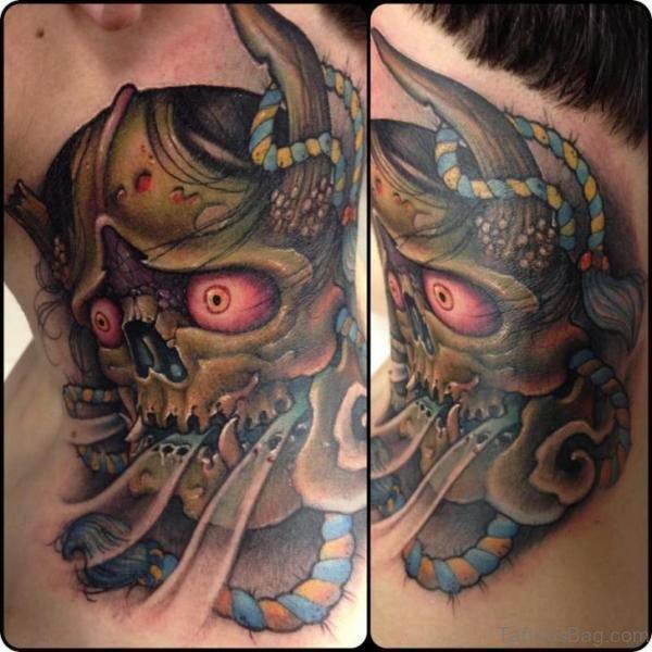 Horror Dragon Tattoo On Neck