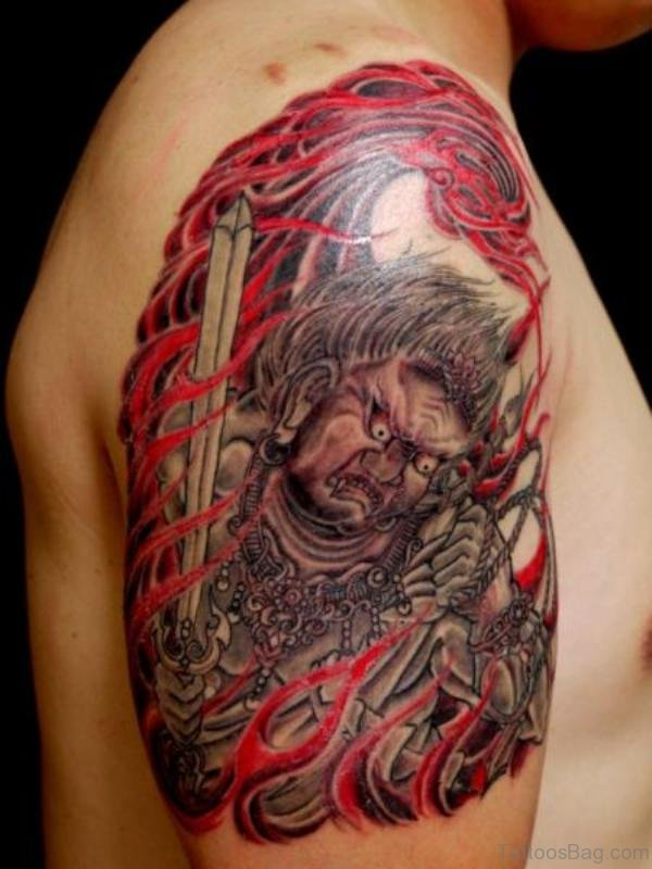Horror Japanese Tattoo On Shoulder
