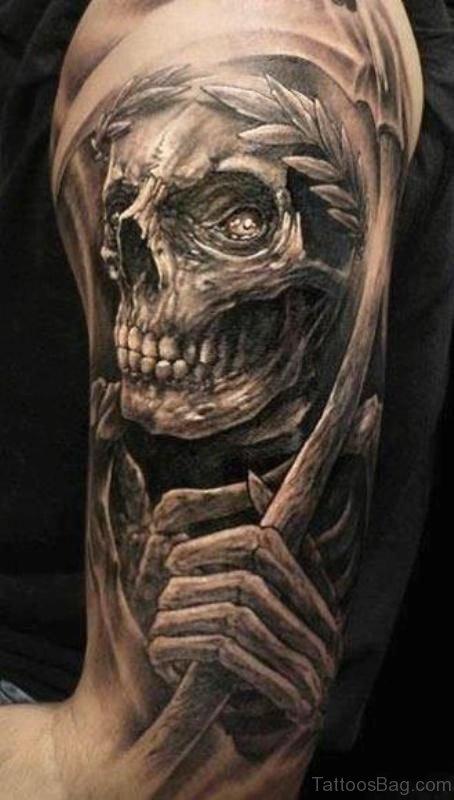 Horror Skull Half Sleeves Shoulder Tattoo
